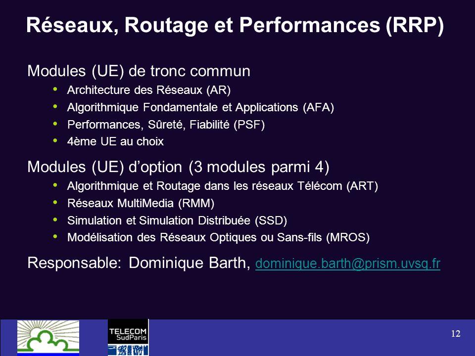 Réseaux, Routage et Performances (RRP)