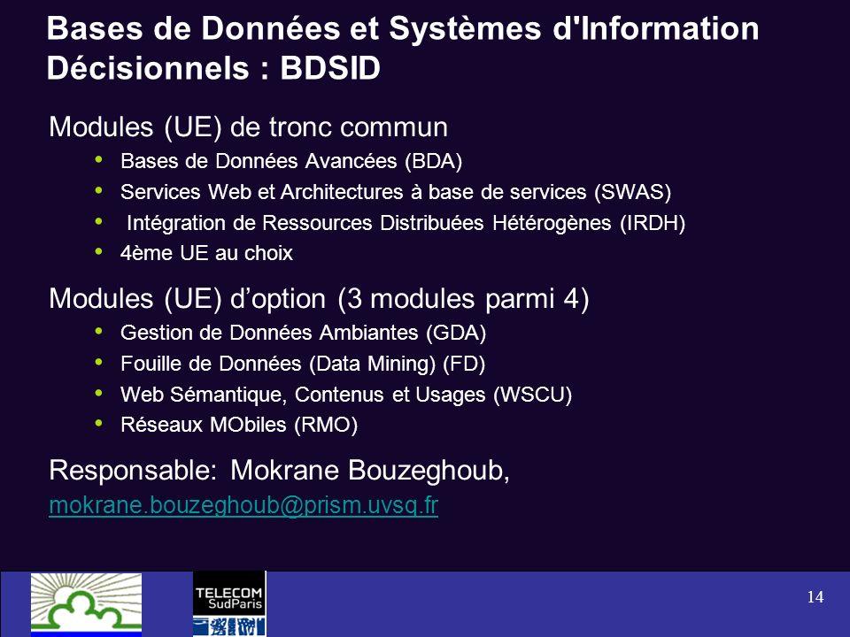 Bases de Données et Systèmes d Information Décisionnels : BDSID
