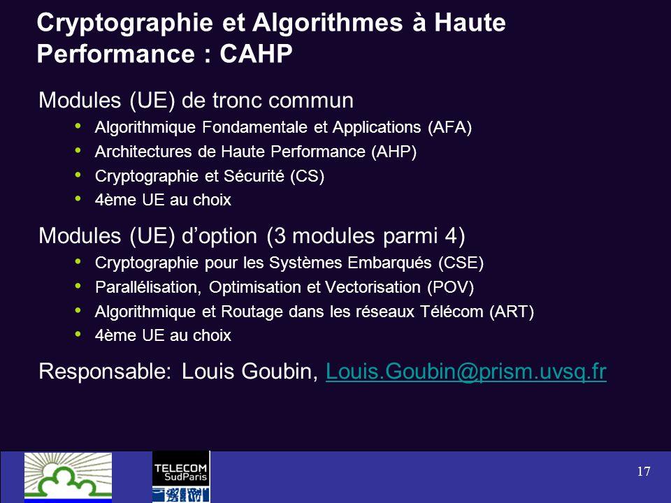 Cryptographie et Algorithmes à Haute Performance : CAHP