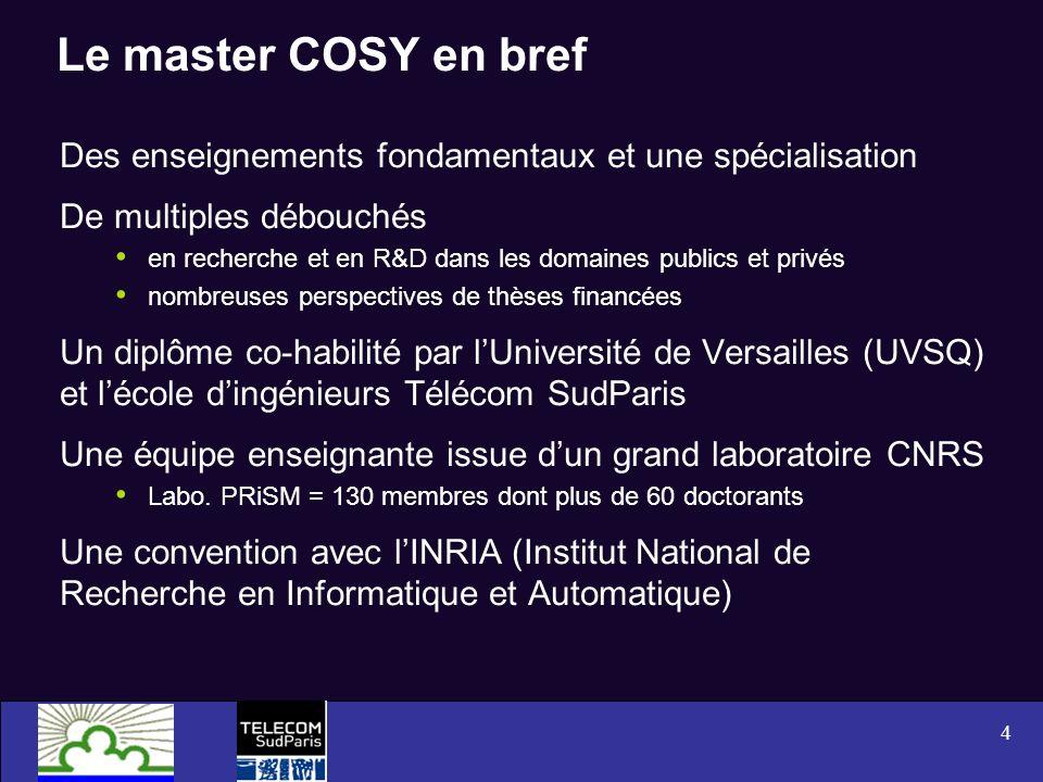 Le master COSY en bref Des enseignements fondamentaux et une spécialisation. De multiples débouchés.