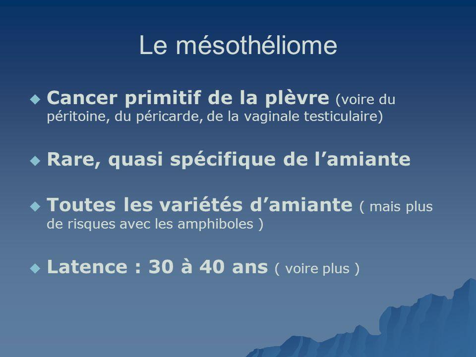 Le mésothéliome Cancer primitif de la plèvre (voire du péritoine, du péricarde, de la vaginale testiculaire)
