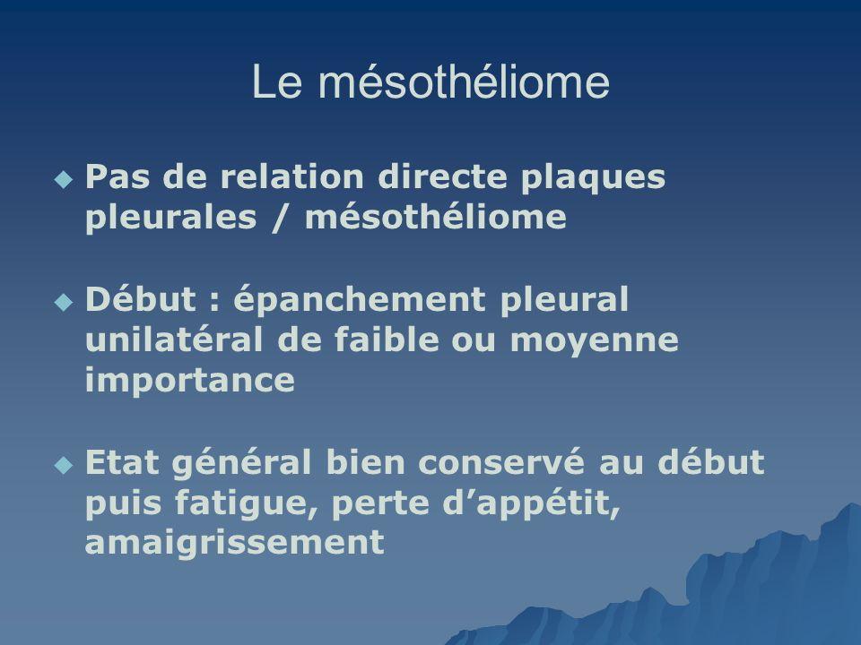 Le mésothéliome Pas de relation directe plaques pleurales / mésothéliome. Début : épanchement pleural unilatéral de faible ou moyenne importance.