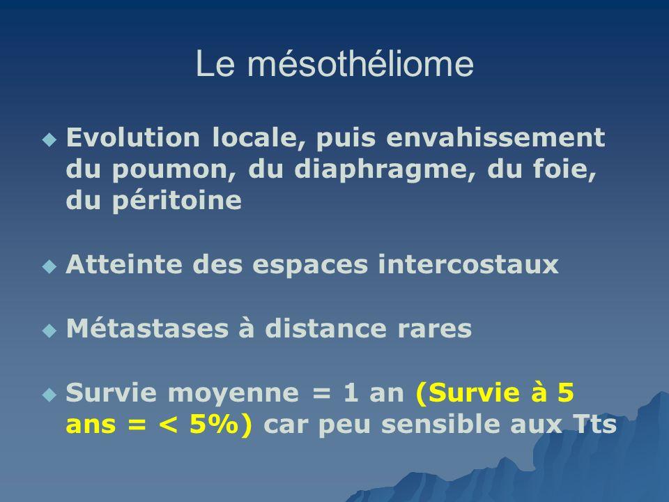 Le mésothéliome Evolution locale, puis envahissement du poumon, du diaphragme, du foie, du péritoine.