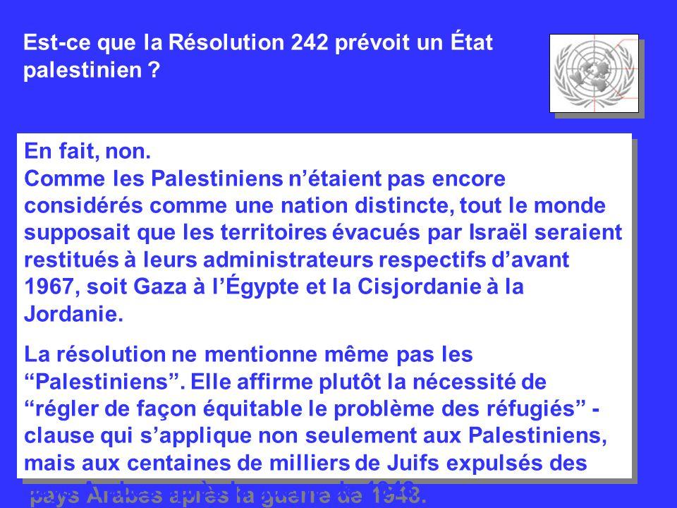 Est-ce que la Résolution 242 prévoit un État palestinien