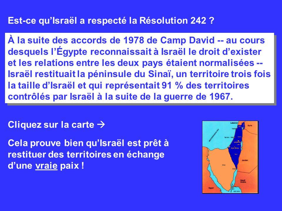 Est-ce qu'Israël a respecté la Résolution 242