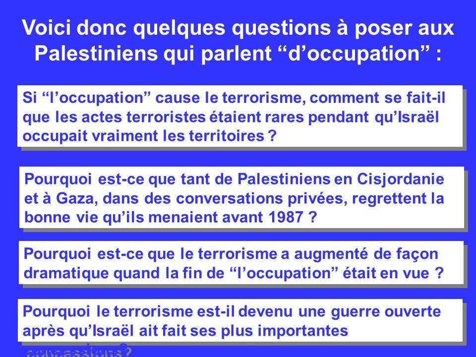 Voici donc quelques questions à poser aux Palestiniens qui parlent d'occupation :