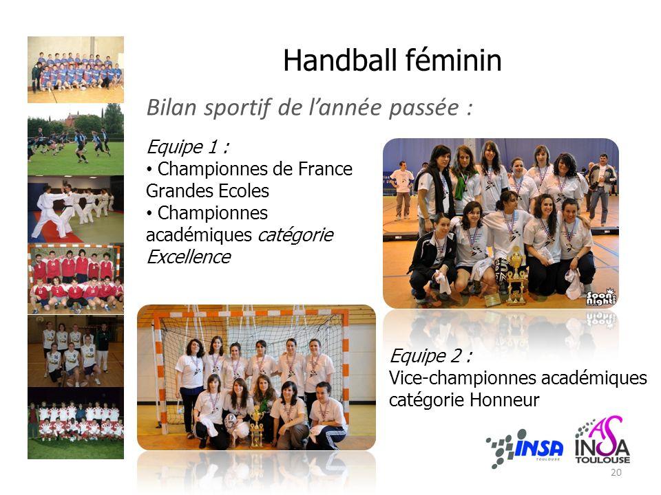 Handball féminin Bilan sportif de l'année passée : Equipe 1 :