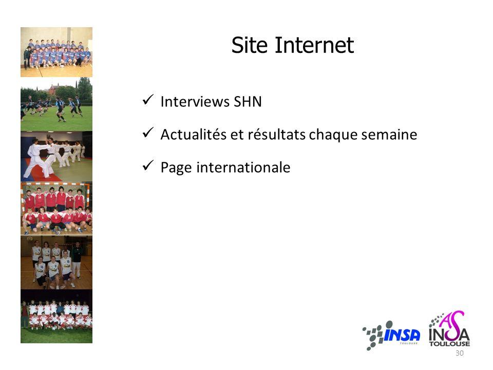 Site Internet Interviews SHN Actualités et résultats chaque semaine