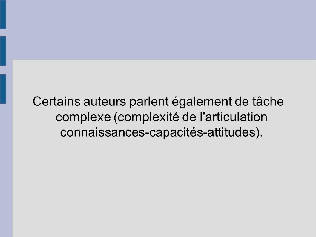 Certains auteurs parlent également de tâche complexe (complexité de l articulation connaissances-capacités-attitudes).