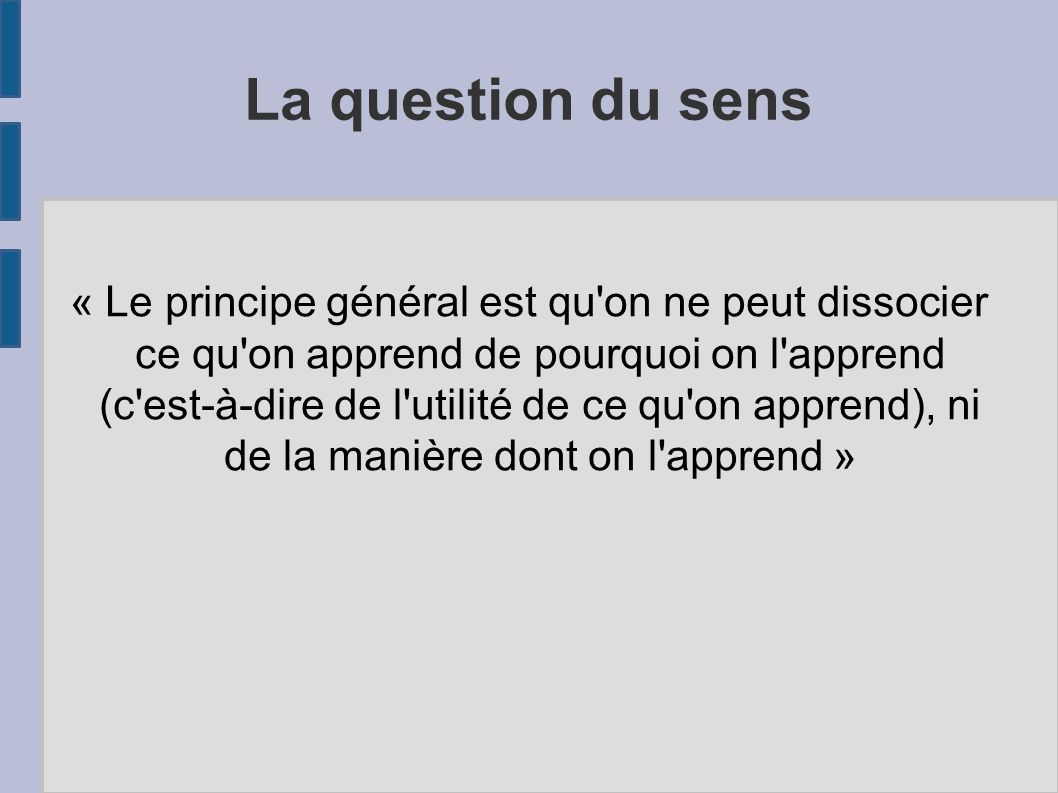 La question du sens
