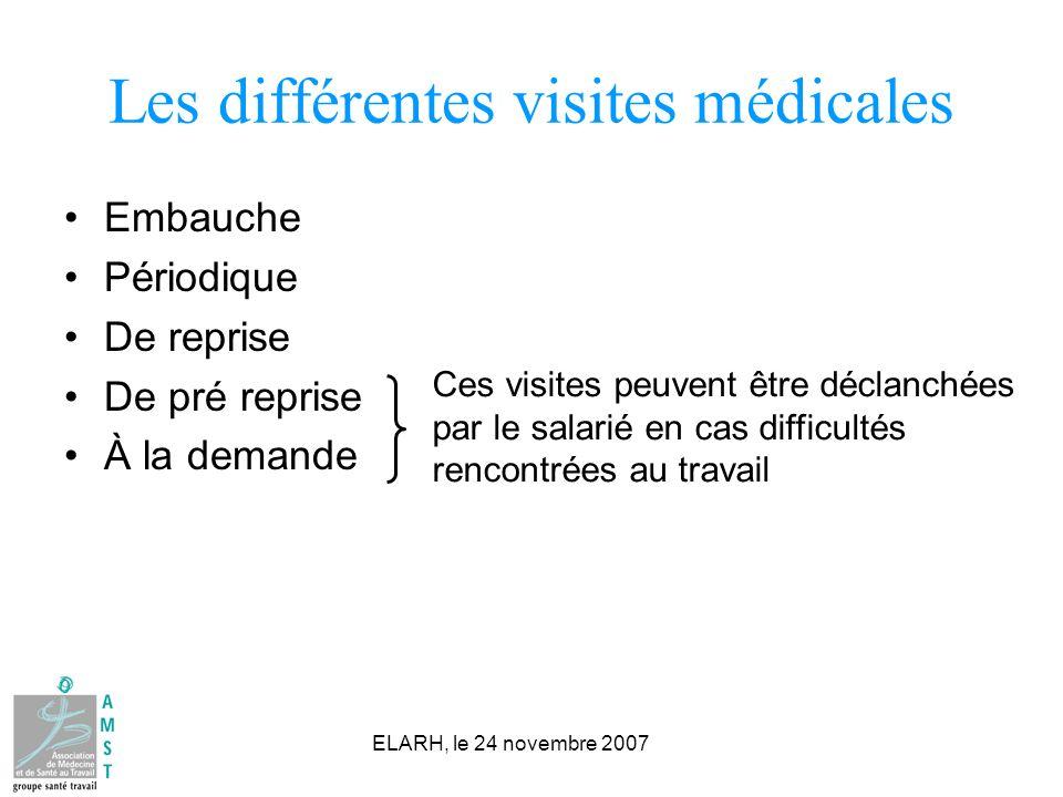 Les différentes visites médicales