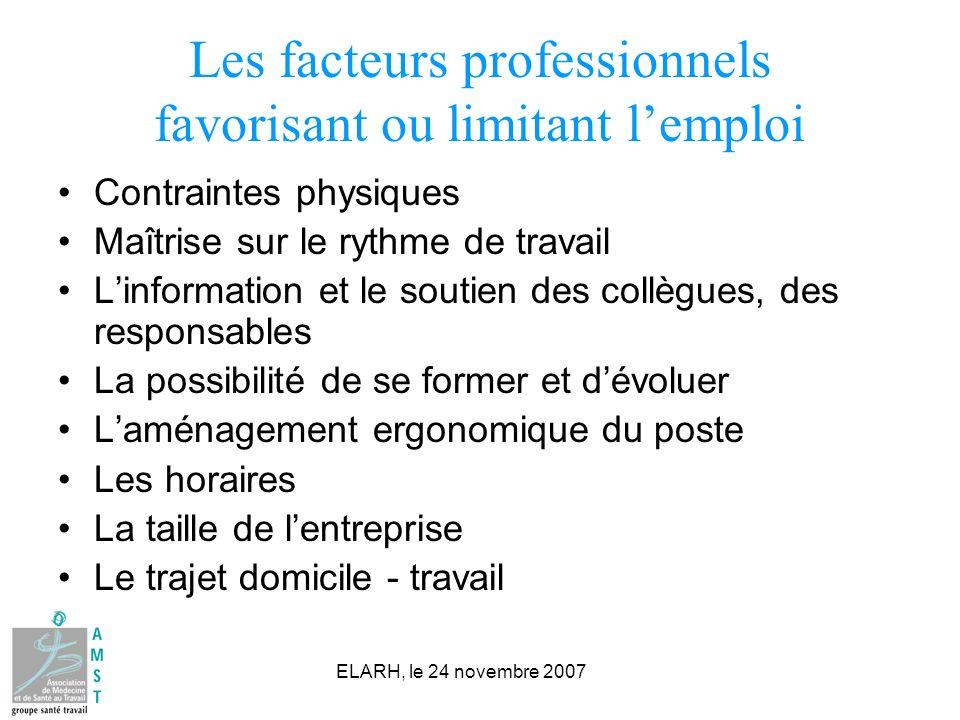 Les facteurs professionnels favorisant ou limitant l'emploi
