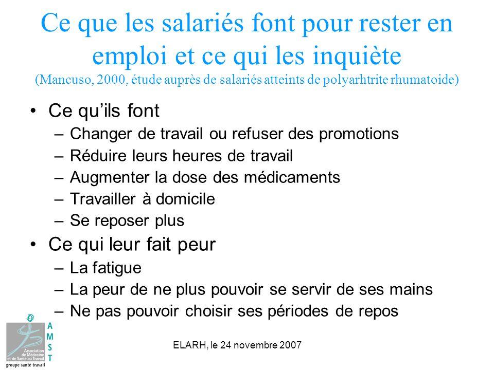 Ce que les salariés font pour rester en emploi et ce qui les inquiète (Mancuso, 2000, étude auprès de salariés atteints de polyarhtrite rhumatoide)