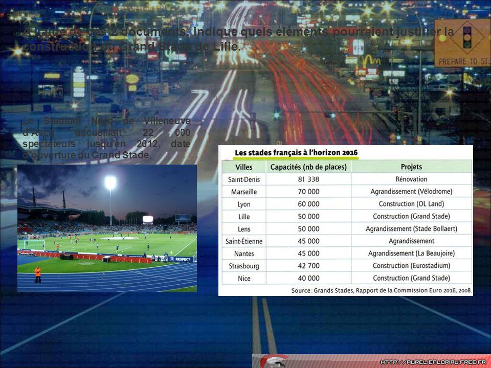 A l'aide de ces 2 documents, indique quels éléments pourraient justifier la construction du Grand Stade de Lille.