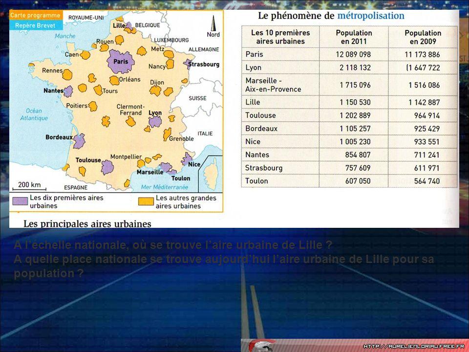A l'échelle nationale, où se trouve l'aire urbaine de Lille