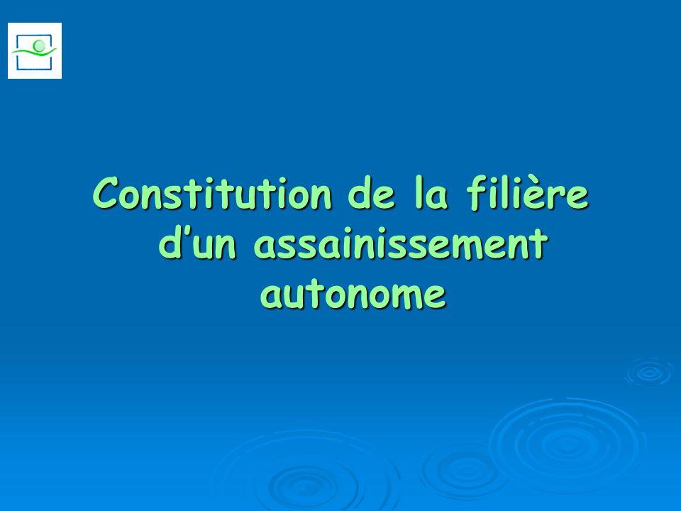 Constitution de la filière d'un assainissement autonome