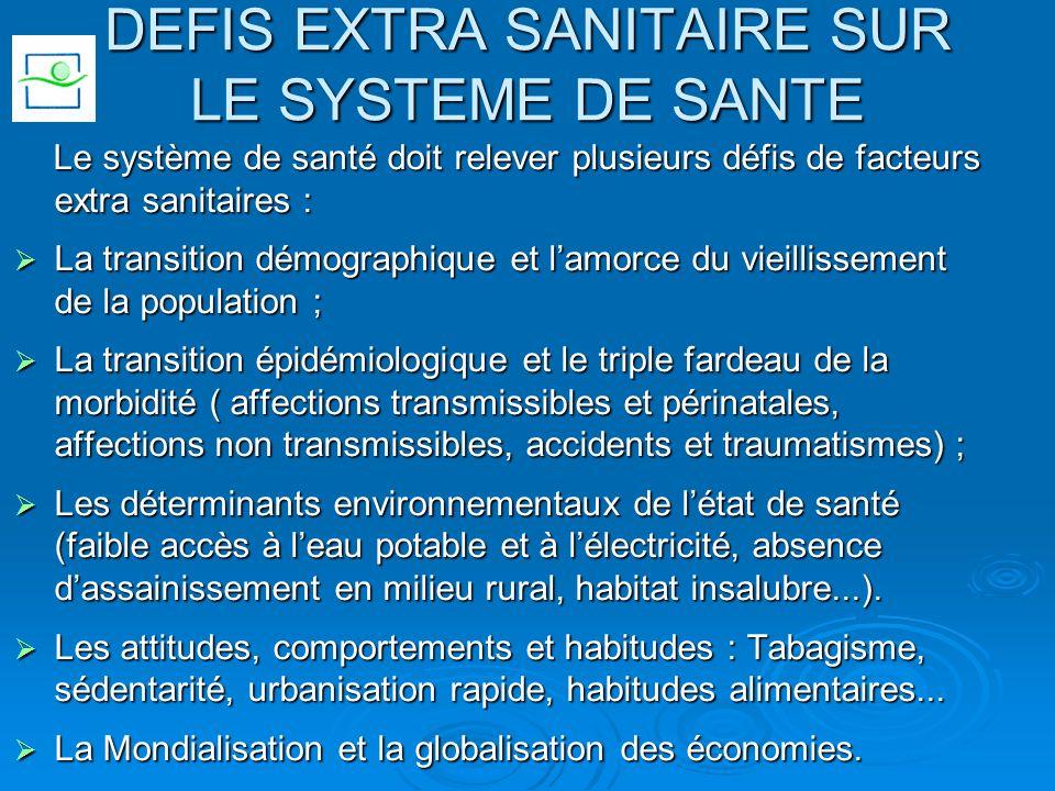 DEFIS EXTRA SANITAIRE SUR LE SYSTEME DE SANTE