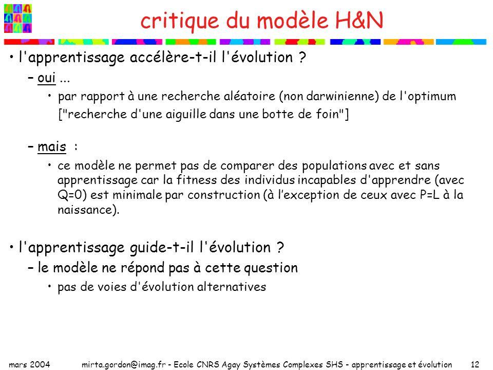 critique du modèle H&N l apprentissage accélère-t-il l évolution