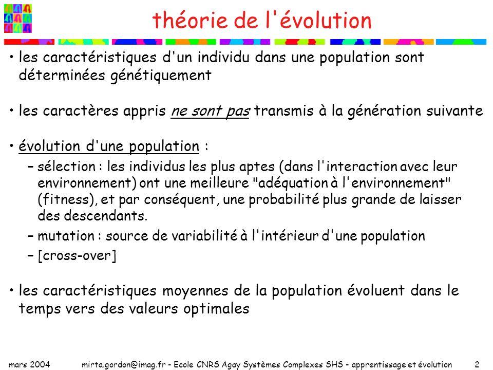 théorie de l évolution les caractéristiques d un individu dans une population sont déterminées génétiquement.