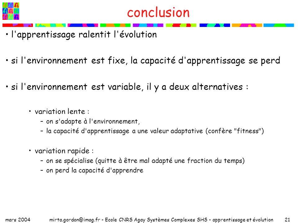 conclusion l apprentissage ralentit l évolution