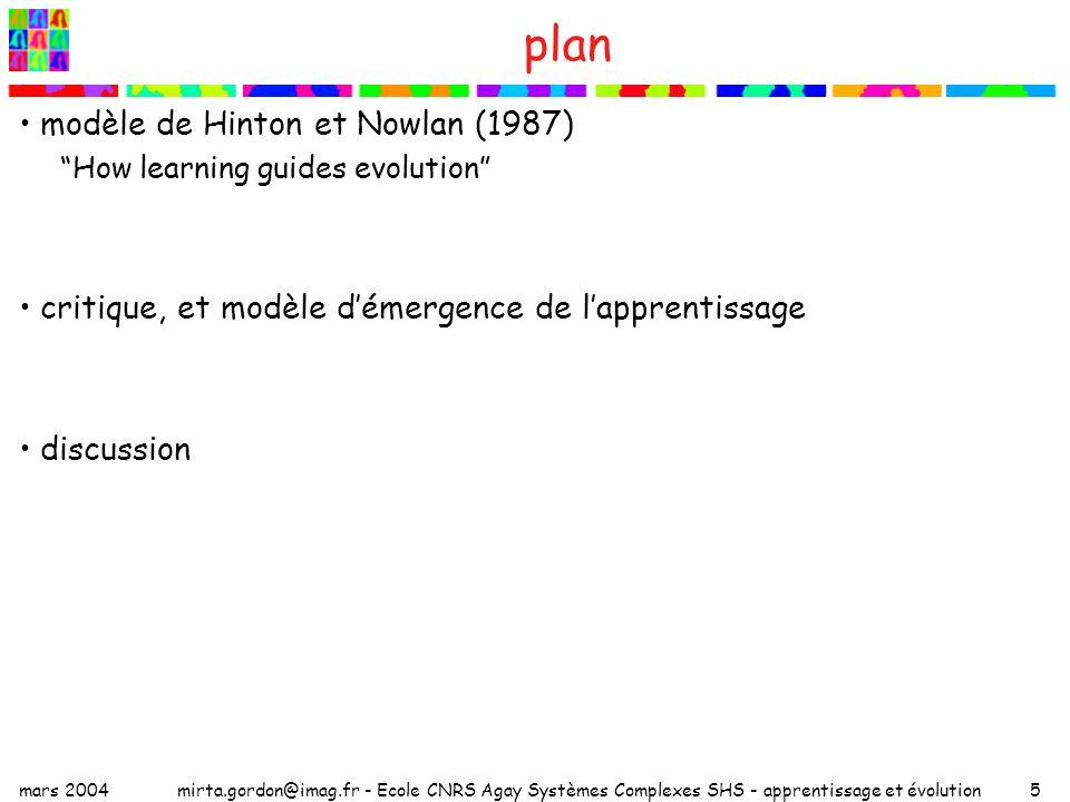 plan modèle de Hinton et Nowlan (1987)