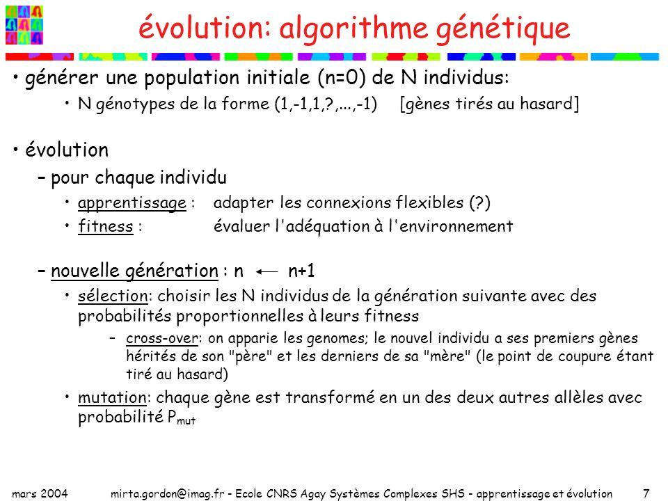 évolution: algorithme génétique