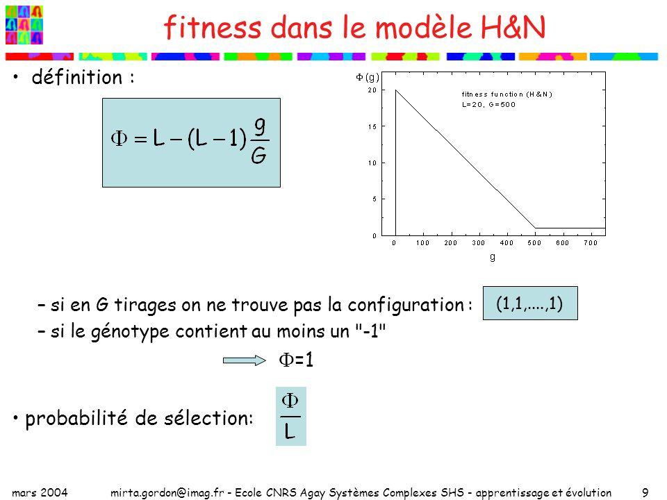 fitness dans le modèle H&N