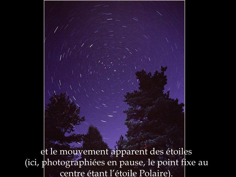 et le mouvement apparent des étoiles (ici, photographiées en pause, le point fixe au centre étant l'étoile Polaire).