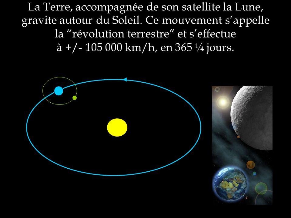 La Terre, accompagnée de son satellite la Lune, gravite autour du Soleil.