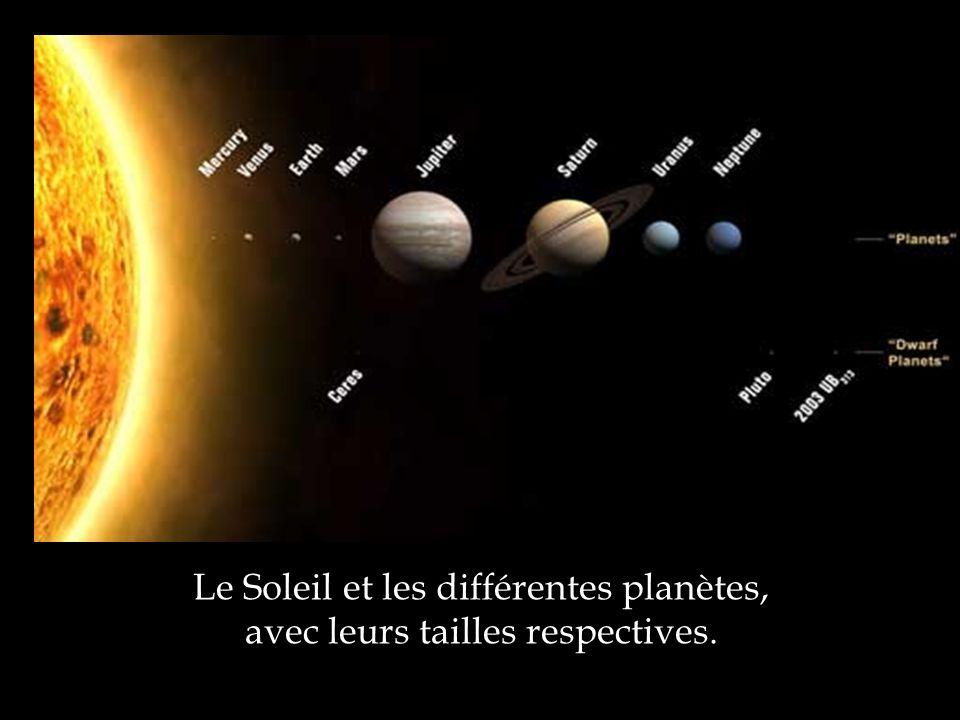 Le Soleil et les différentes planètes, avec leurs tailles respectives.