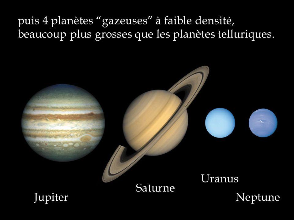 puis 4 planètes gazeuses à faible densité, beaucoup plus grosses que les planètes telluriques.