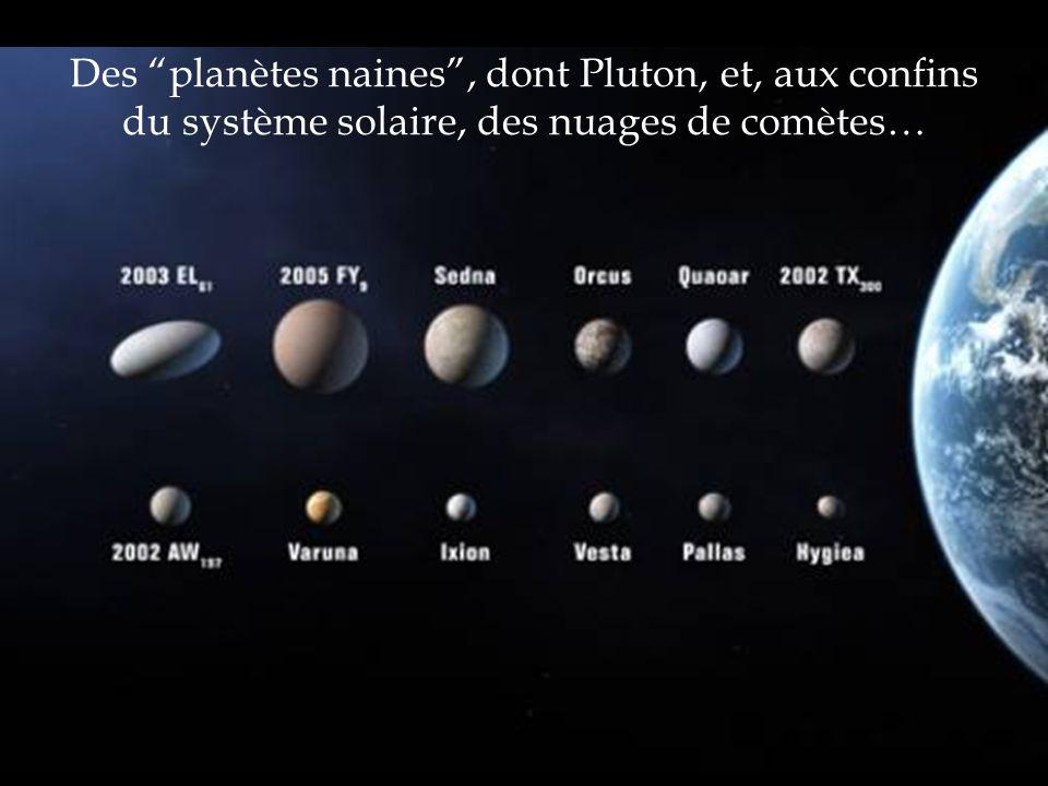 Des planètes naines , dont Pluton, et, aux confins du système solaire, des nuages de comètes…