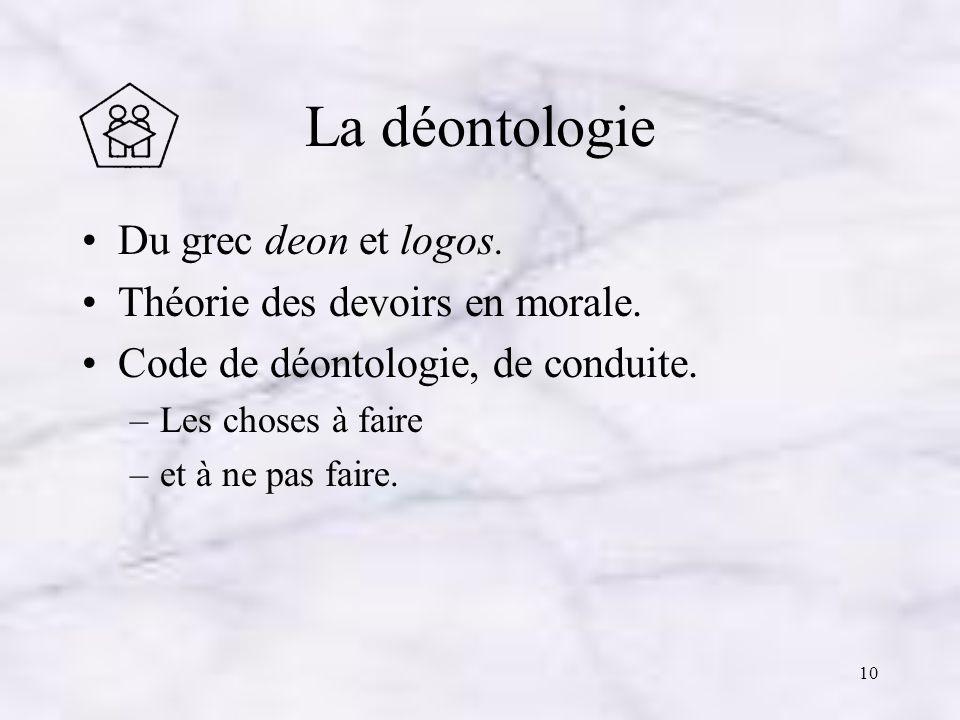 La déontologie Du grec deon et logos. Théorie des devoirs en morale.