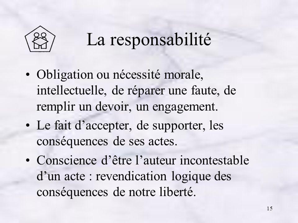 La responsabilité Obligation ou nécessité morale, intellectuelle, de réparer une faute, de remplir un devoir, un engagement.