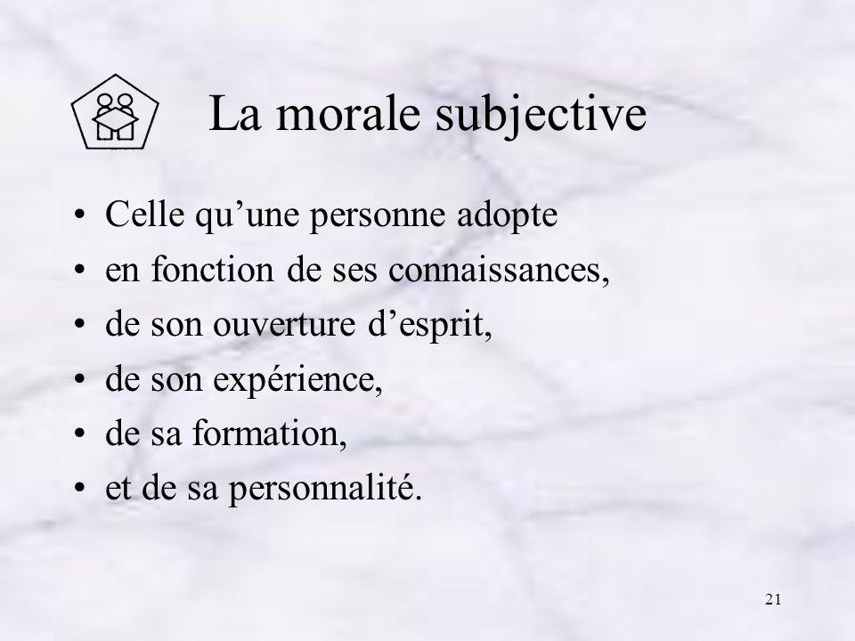 La morale subjective Celle qu'une personne adopte