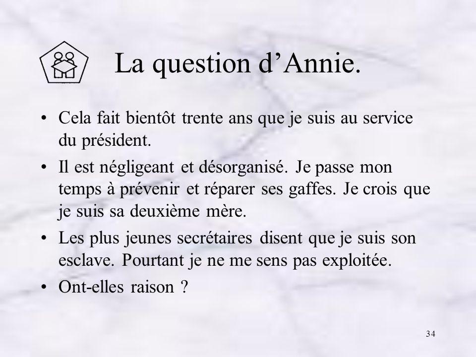 La question d'Annie. Cela fait bientôt trente ans que je suis au service du président.