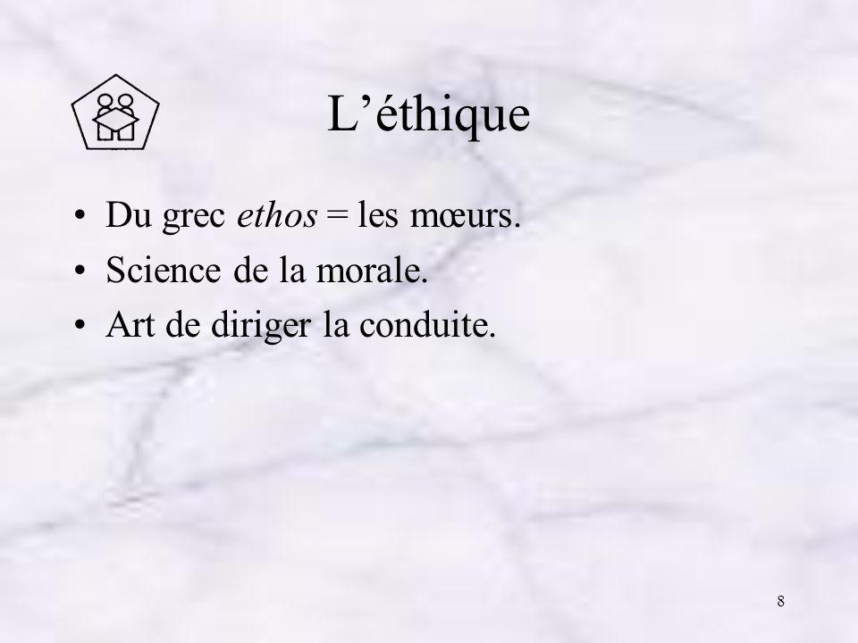L'éthique Du grec ethos = les mœurs. Science de la morale.