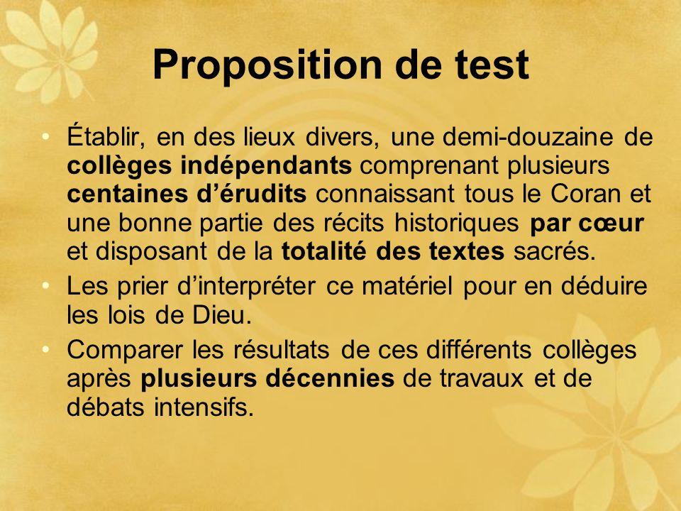 Proposition de test