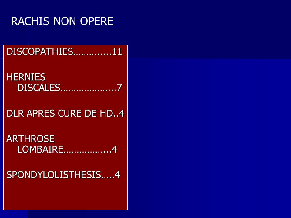 RACHIS NON OPERE DISCOPATHIES……….....11 HERNIES DISCALES………………...7
