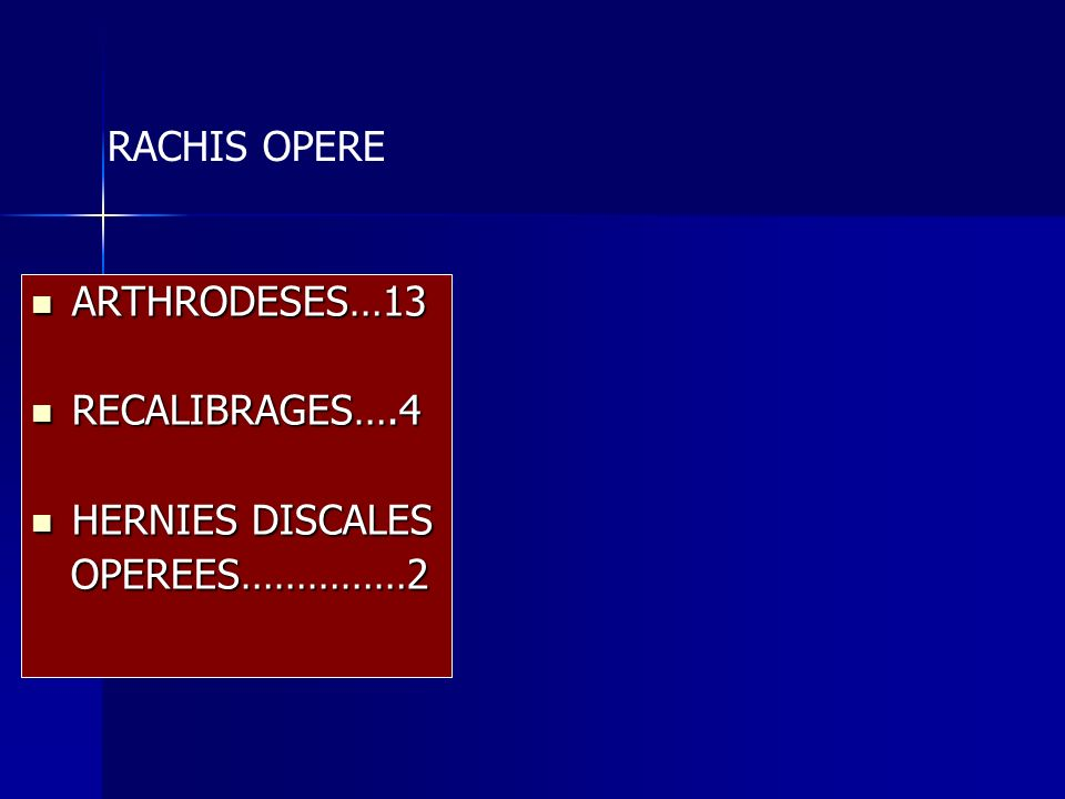 RACHIS OPERE ARTHRODESES…13 RECALIBRAGES….4 HERNIES DISCALES OPEREES……………2