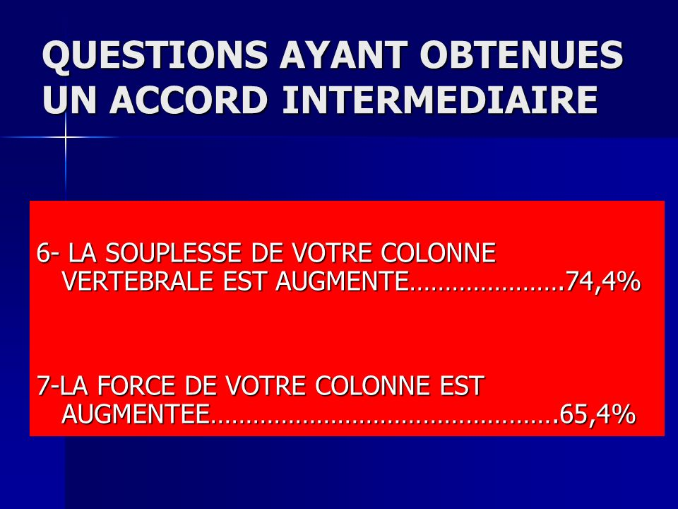 QUESTIONS AYANT OBTENUES UN ACCORD INTERMEDIAIRE