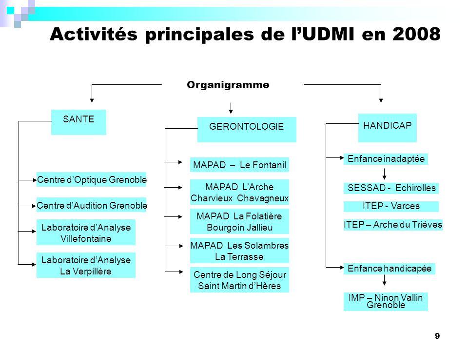 Activités principales de l'UDMI en 2008