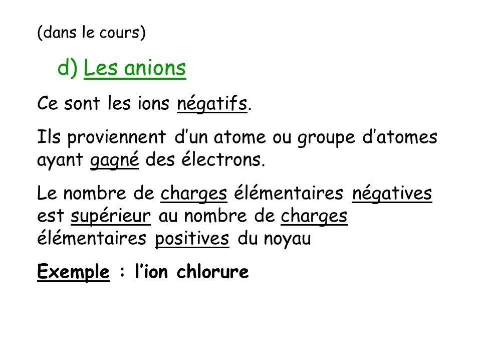 d) Les anions Ce sont les ions négatifs.