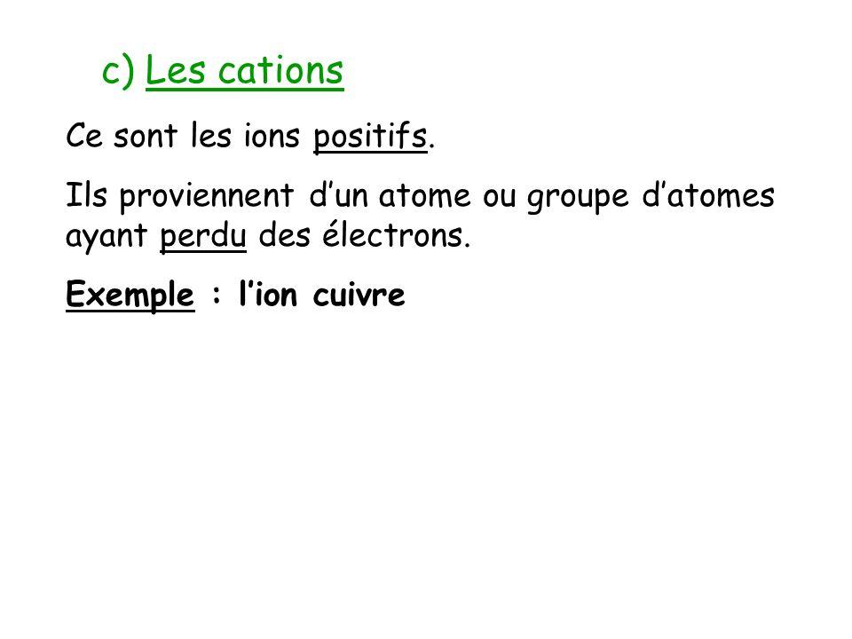 c) Les cations Ce sont les ions positifs.