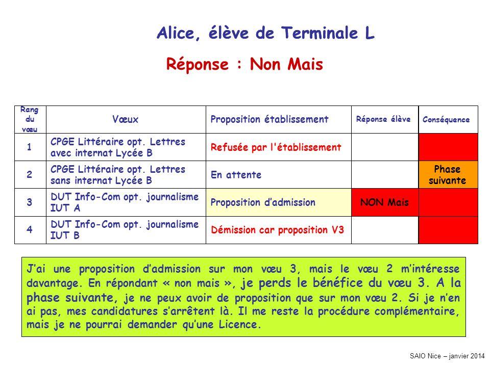 Alice, élève de Terminale L Alice, élève de Terminale L