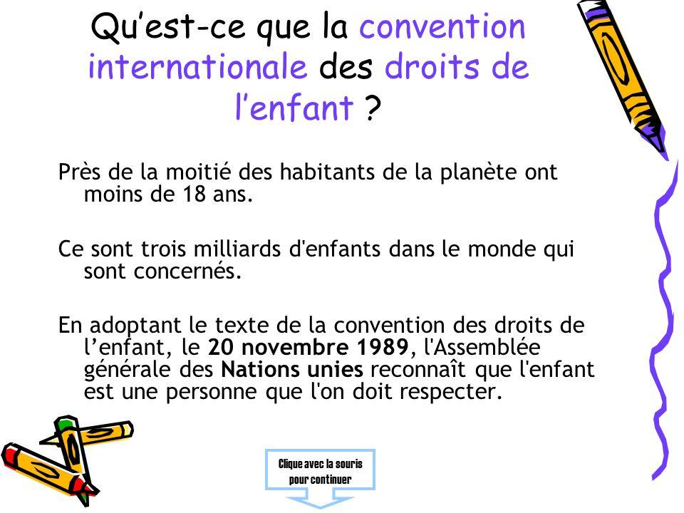 Qu'est-ce que la convention internationale des droits de l'enfant