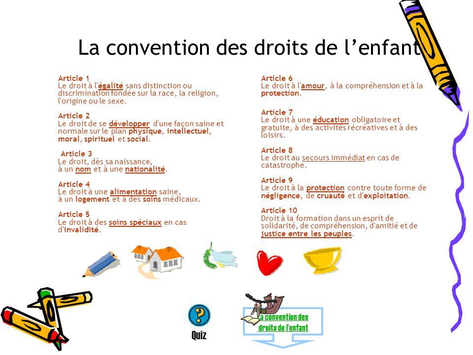 La convention des droits de l'enfant