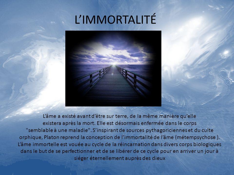 L'IMMORTALITÉ L'âme a existé avant d'être sur terre, de la même manière qu'elle. existera après la mort. Elle est désormais enfermée dans le corps.