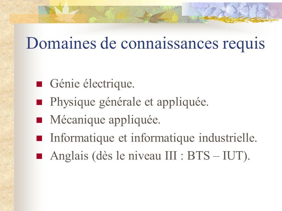 Domaines de connaissances requis