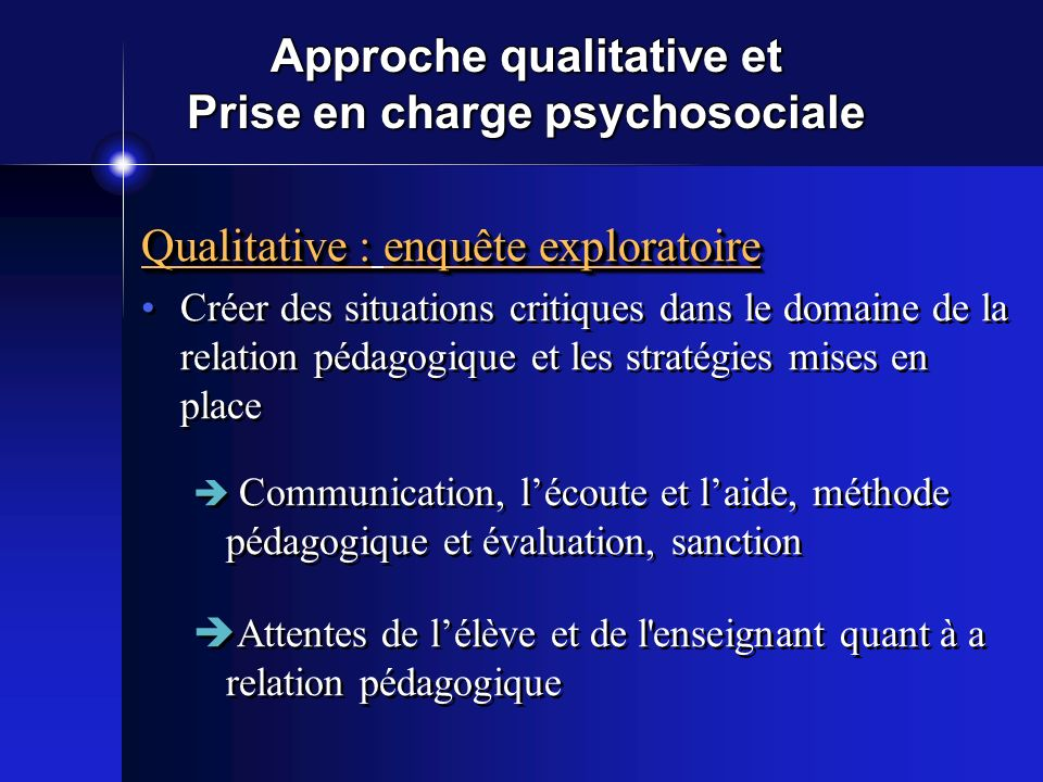 Approche qualitative et Prise en charge psychosociale